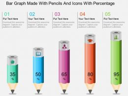 Ab Bar Graph Made With Pencils And Icons With Percentage Powerpoint Template