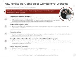 ABC Fitness Inc Companies Competitive Strengths Market Entry Strategy Gym Health Clubs Industry Ppt Elements
