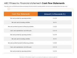 ABC Fitness Inc Financial Statement Cash Flow Statements Health And Fitness Clubs Industry Ppt Designs
