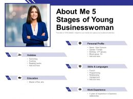 About Me 5 Stages Of Young Businesswoman