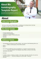 About Me Autobiography Template Report Presentation Report Infographic PPT PDF Document