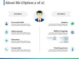 About Me Option 2 Of 2 Ppt Pictures Design Templates