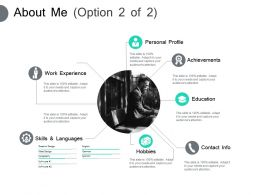 About Me Personal Profile Work Experience F277 Ppt Powerpoint Slides