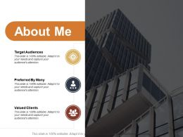 About Me Target Audiences Ppt Powerpoint Presentation Layouts Infographic Templat