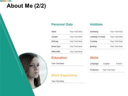 About Me Work Experience I31 Ppt Powerpoint Presentation Diagram Ppt