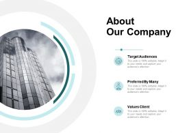 About Our Company Target Audiences Ppt Powerpoint Presentation Infographics Smartart