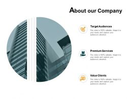 About Our Company Target Audiences Premium Services E62 Ppt Powerpoint Presentation Gallery Skills