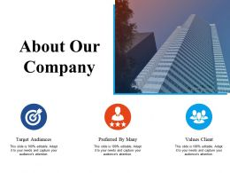 About Our Company With Three Members Ppt Infographic Template Pictures