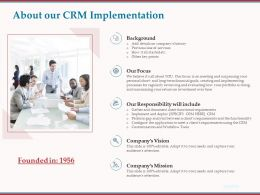 About Our CRM Implementation Ppt Powerpoint Presentation Icon Show