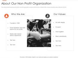 About Our Non Profit Organization Nonprofits Pitching Donors Ppt Graphics