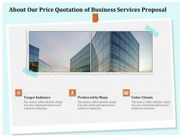 About Our Price Quotation Of Business Services Proposal Ppt Template