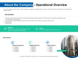About The Company Operational Overview Pitch Deck For ICO Funding Ppt Topics