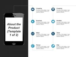 About The Product Ppt Visual Aids Infographic Template