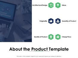 About The Product Template Quantity Of Product Ppt Powerpoint Presentation Diagram Graph Charts