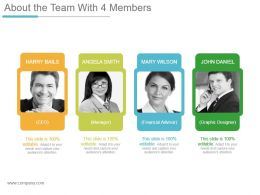 About The Team With 4 Members Powerpoint Presentation