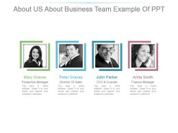 About Us About Business Team Example Of Ppt