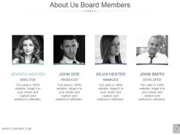 About Us Board Members Sample Ppt Presentation