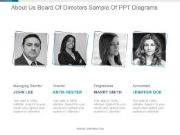 About Us Board Of Directors Sample Of Ppt Diagrams