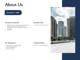 About Us Company Introduction F673 Powerpoint Presentation Outline Brochure