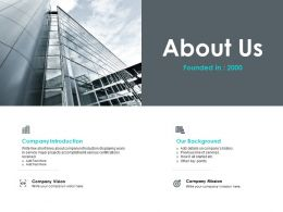 About Us Company Vision F654 Ppt Powerpoint Presentation Styles Inspiration