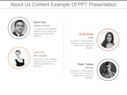 About Us Content Example Of Ppt Presentation