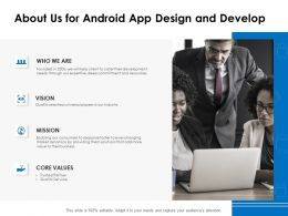 About Us For Android App Design And Develop Ppt Powerpoint Presentation Infographics
