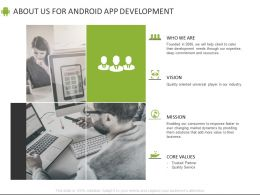 About Us For Android App Development Mission Vision Ppt Powerpoint Presentation