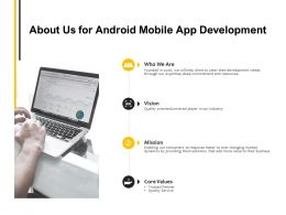 About Us For Android Mobile App Development Core Values Ppt Powerpoint Presentation Portfolio