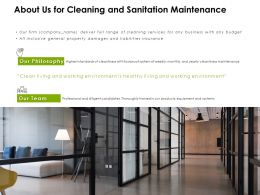 About Us For Cleaning And Sanitation Maintenance Ppt Powerpoint Presentation Model