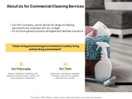 About Us For Commercial Cleaning Services Ppt Powerpoint Presentation Slides