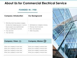 About Us For Commercial Electrical Service Ppt Powerpoint Presentation File Deck