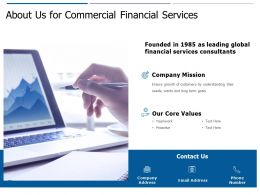 About Us For Commercial Financial Services C438 Ppt Powerpoint Presentation Model Objects