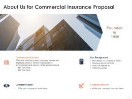 About Us For Commercial Insurance Proposal C1060 Ppt Powerpoint Presentation Diagram