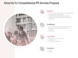 About Us For Comprehensive PR Services Proposal Ppt Styles Display