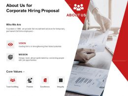 About Us For Corporate Hiring Proposal Ppt Powerpoint Presentation Icon Samples