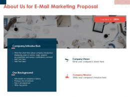 About Us For E Mail Marketing Proposal Ppt Powerpoint Presentation Styles Model