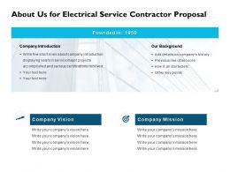 About Us For Electrical Service Contractor Proposal Ppt Slides