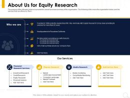 About Us For Equity Research Market Forecast Ppt Powerpoint Presentation Infographics Demonstration