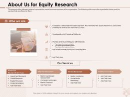 About Us For Equity Research Small Summary Ppt Powerpoint Presentation Infographics Visual Aids