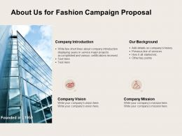 About Us For Fashion Campaign Proposal Ppt Powerpoint Presentation File Objects