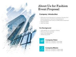 About Us For Fashion Event Proposal Ppt Outline Picture