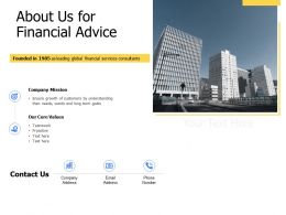 About Us For Financial Advice Core Values K340 Ppt Powerpoint Presentation Outfit