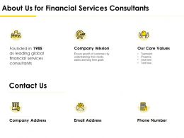About Us For Financial Services Consultants Ppt Powerpoint Designs