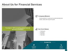 About Us For Financial Services Targets Ppt Powerpoint Presentation Outline Maker
