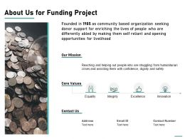 About Us For Funding Project Ppt Powerpoint Presentation Portfolio Deck