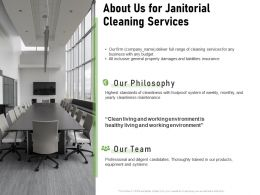 About Us For Janitorial Cleaning Services Ppt Powerpoint Presentation Summary Tips