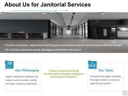 About Us For Janitorial Services Team Ppt Powerpoint Presentation Template Designs