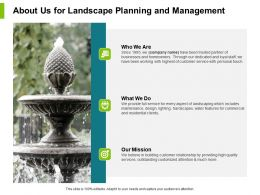 About Us For Landscape Planning And Management Ppt Slides