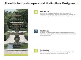 About Us For Landscapers And Horticulture Designers Ppt Slides