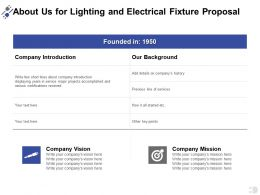 About Us For Lighting And Electrical Fixture Proposal Ppt Powerpoint Presentation File